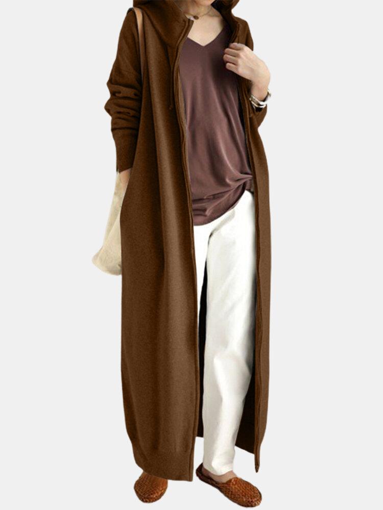 Повседневная длинная куртка с капюшоном и сплошными цветными карманами на молнии Платье