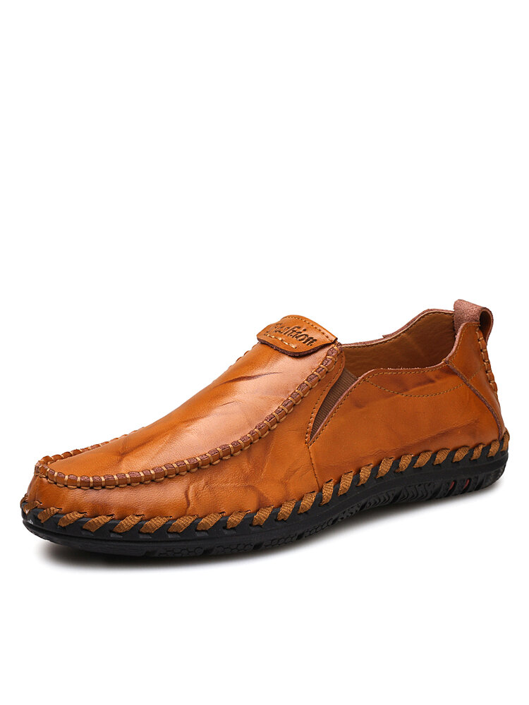 Men Hand Stitching Sfot Leather Non Slip Sole Comfy Slip-on Casual Driving Shoes
