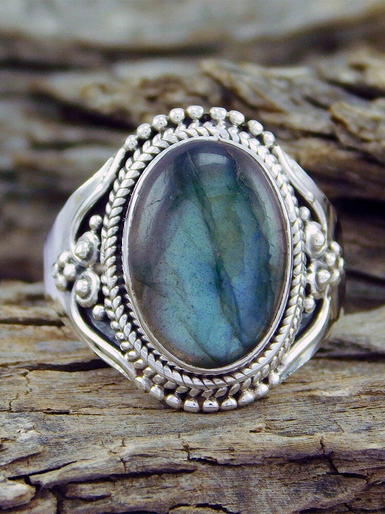 Vintage Oval-shape Shell Artificial Gems Alloy Rings