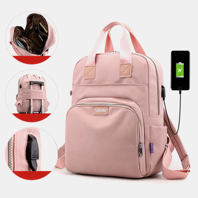 Women Casual USB Charging Multifunction Solid School Bag Backpack