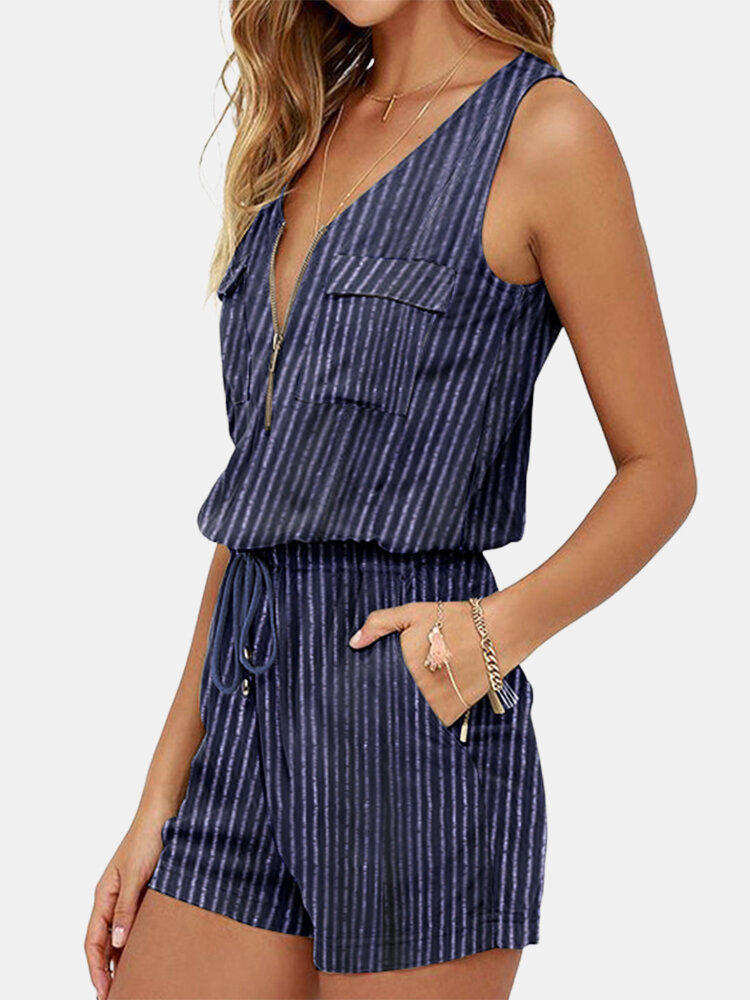 Striped Printed V-neck Front Zipper Sleeveless Rompers