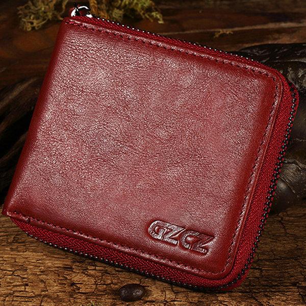 Women Genuine Leather Short Wallet 4 Card Slot Bifold Coin Purse