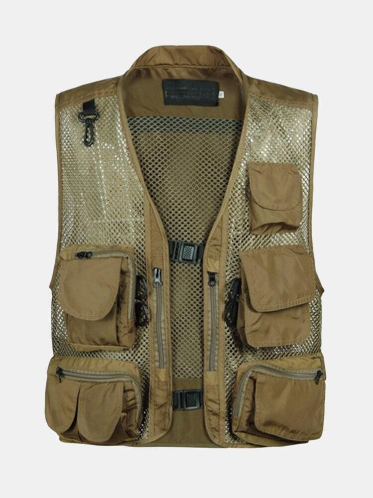 رجالي شبكة تنفس جيوب متعددة الوظائف صدرية سريعة الجافة الصيد في الهواء الطلق سترات بلا أكمام