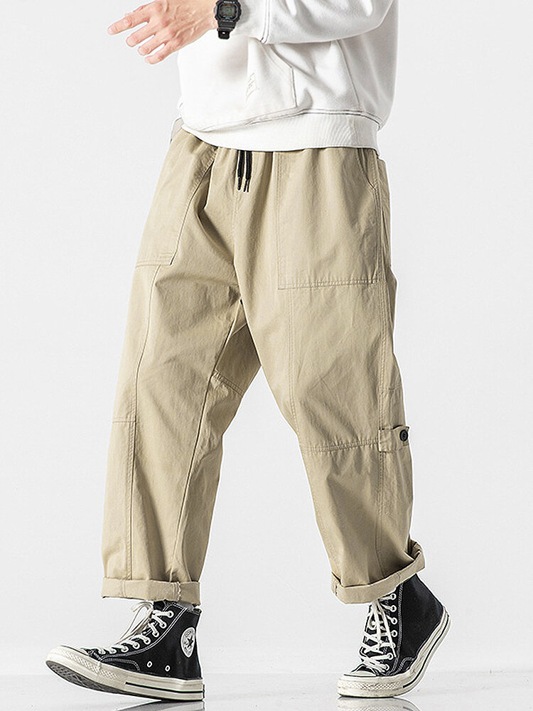 Mens 100% Cotton Solid Color Straight Pants With Pocket
