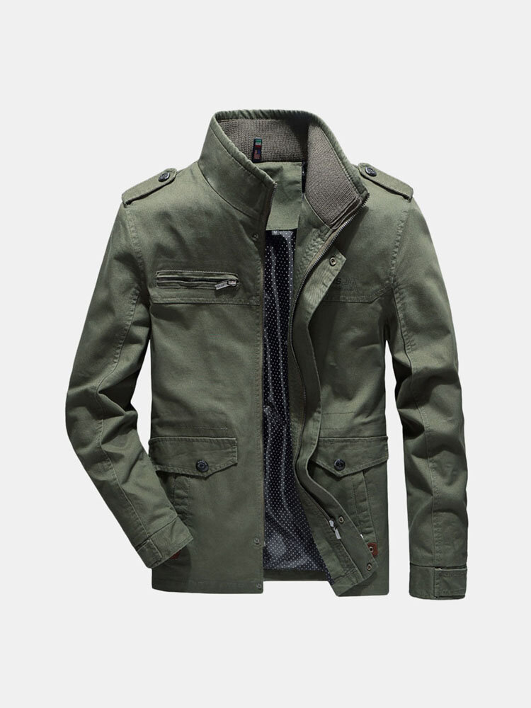 Men 100% Cotton Military Multi Pockets Epaulettes Solid Color Casual Washed Outdoor Tooling Jacket