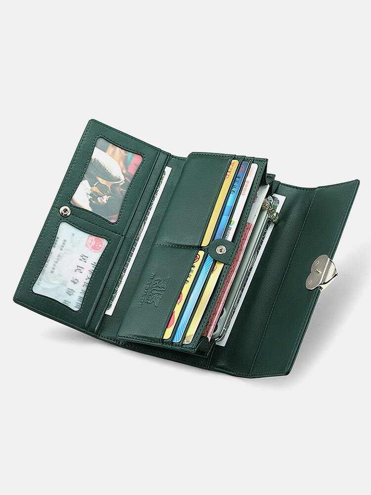 Heart Buckle Decor Genuine Leather 6.5 Inch Anti-theft RFID Clutch Wallet Multi-card Slots Card Holder Long Purse