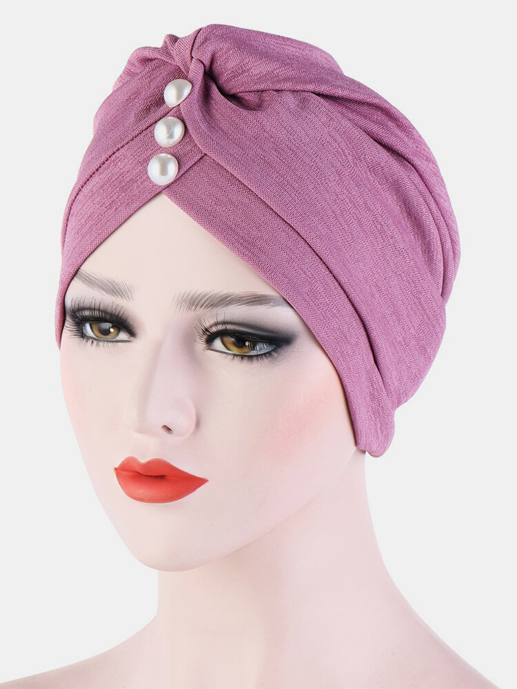 Chiffon Cow Louver Fold Hat Soft Sokid Color Adjustable Headdress Headscarf