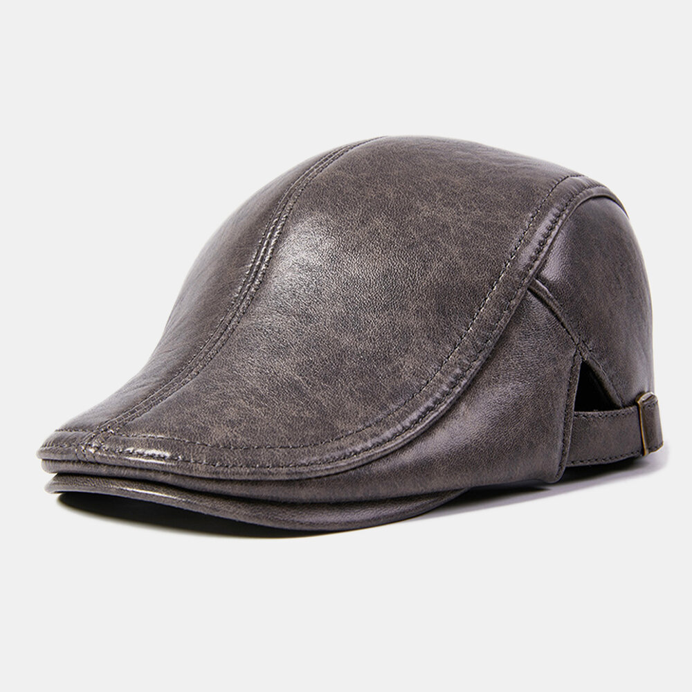 Collrown Men Genuine Leather Retro Casual Solid Keep Warm Winter Forward Hat Beret Hat