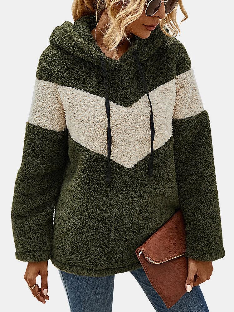 Patchwork Kontrastfarbe Langarm Casual Kapuzenpullover Für Damen