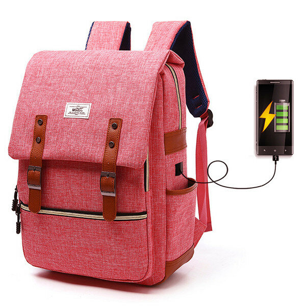 USB Men And Women Outdoor Backpack Book Bags For School Backpack Casual Oxford Canvas Laptop