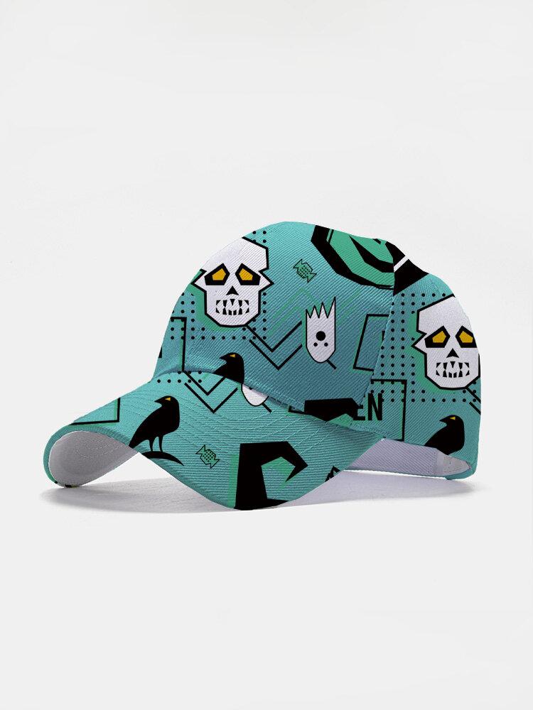 Unisex Cotton Overlay Cartoon Abstract Skull Ghost Crow Print Fashion Baseball Cap