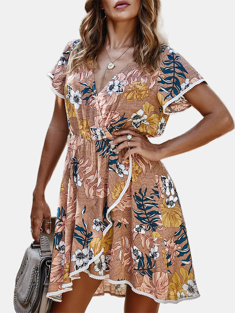 Cross Wrap Laced Floral Print Short Sleeve Dress For Women