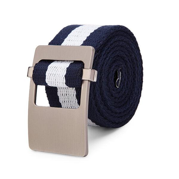 110cm Alloy Head Thick Weave Stripe Buckle Pants Strip Men's Canvas Belt
