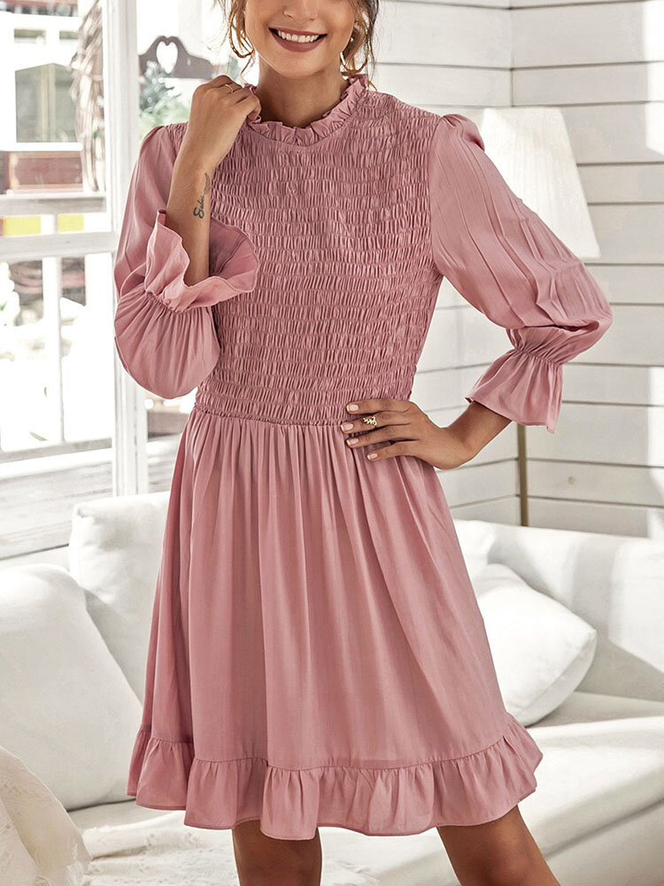 Solid O-neck Fungus Long Sleeve Bowknot Button Casual Dress