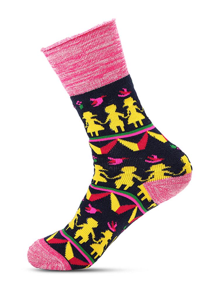 Women Cotton Long Tube Socks Winter Thick Warm Middle Tube Socks Cartoon Print Socks