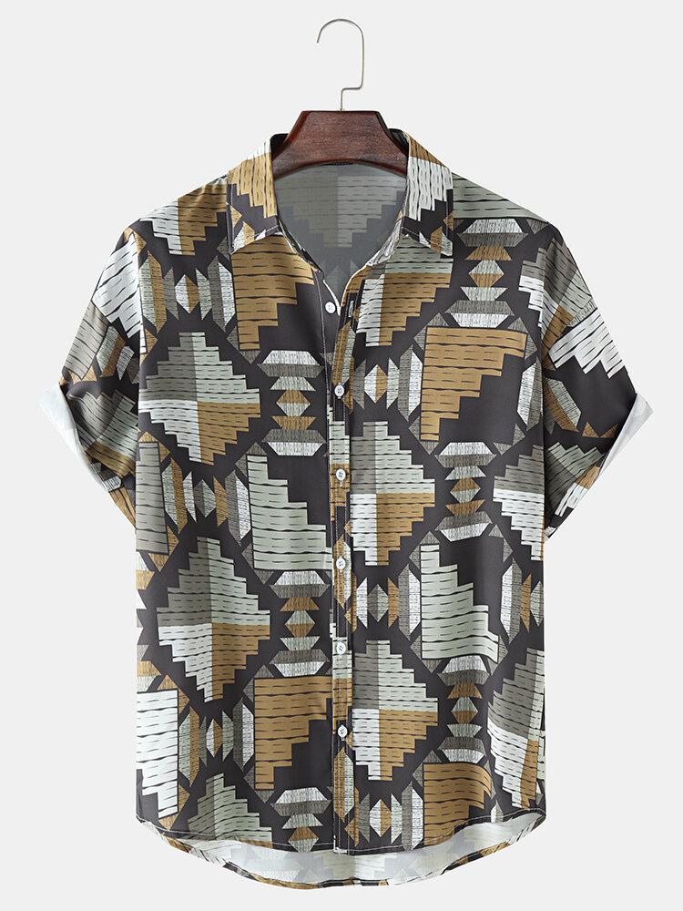 メンズヴィンテージ幾何学模様ラペル半袖シャツ