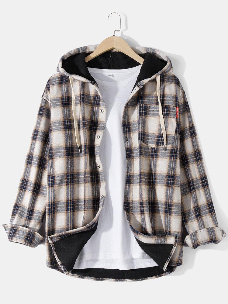 Mens Classical Plaid Print Button Thick Plus Velvet Casual Cotton Hooded Jacket
