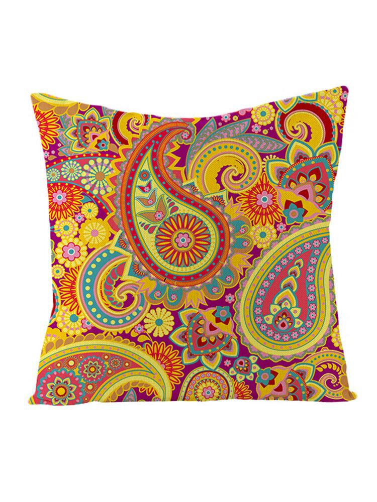 Bohemian Mandala Folk Geometrical Style Linen Throw Pillowcases Home Sofa Art Decor Cushion Cover
