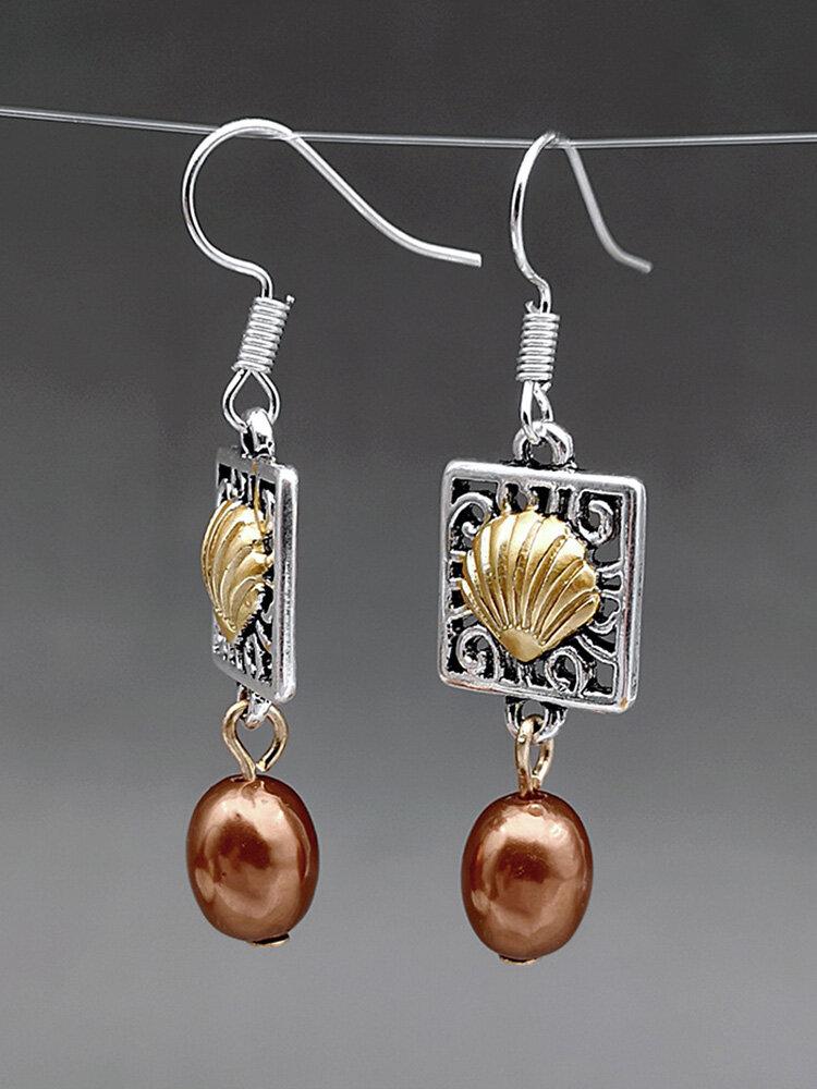 Vintage Pearl Women Earrings Hollow Vine Shell Pendant Earrings Jewelry Gift