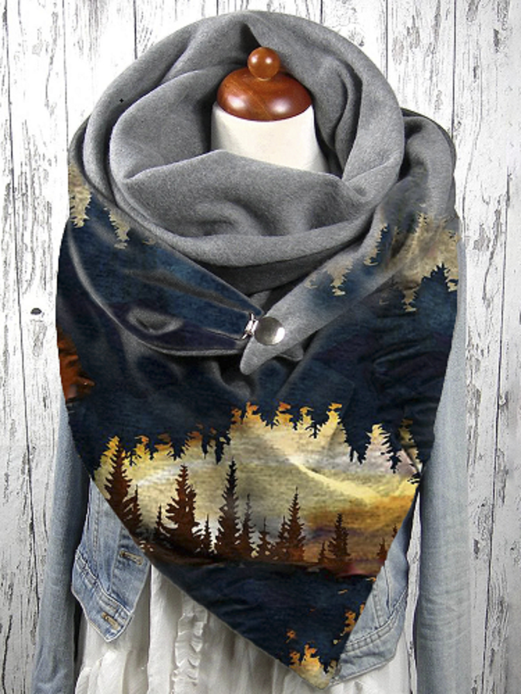 Women Forest Treetop Print Pattern Soft Personality Neck Protection Keep Warm Scarf