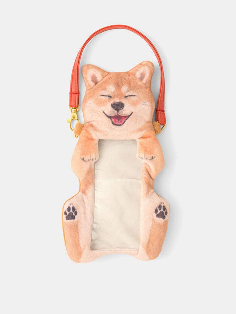 女性かわいい柴犬犬タッチスクリーン電話財布ぬいぐるみコインバッグ