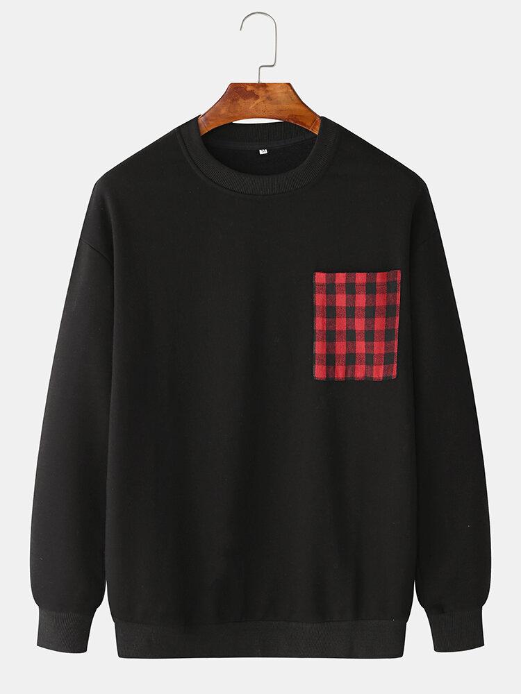 Mens Plain Solid Color Plaid O-neck Sweatshirts