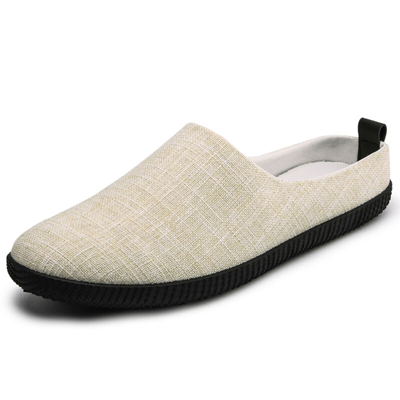 Men Comfy Linen Non Slip Soft Sole Casual Backless Slippers