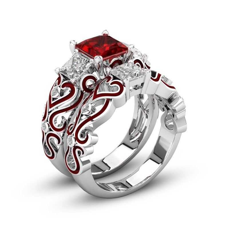 2 Pcs Stackable Cocktail Rings Cubic Zirconia Rings Red Heart Wedding Engagement Rings for Women