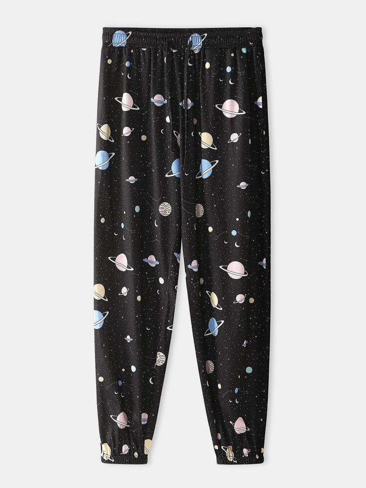 Universe Planet Pattern Jogger Printing Loungewear Pant For Men