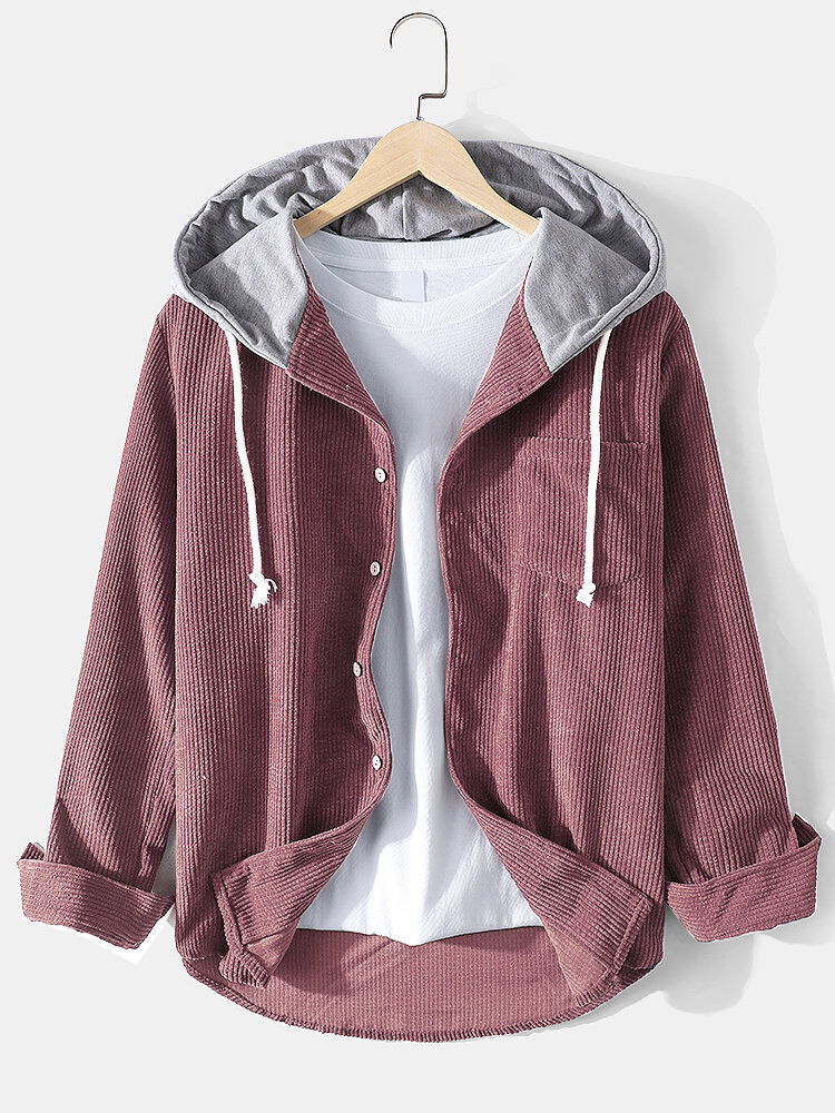 Mens Corduroy Pure Color Drawstring Button Hooded Shirt With Pocket