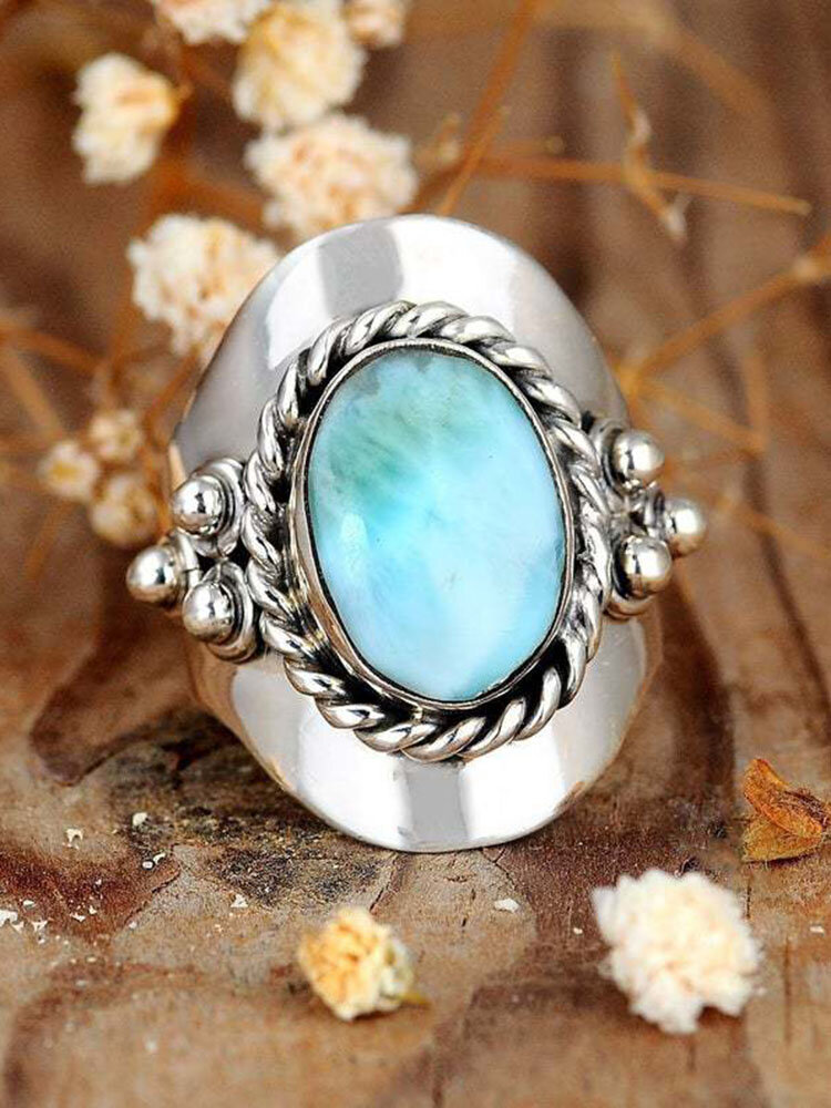 Vintage Turquoise Ring Temperament Alloy Jewelry Ring
