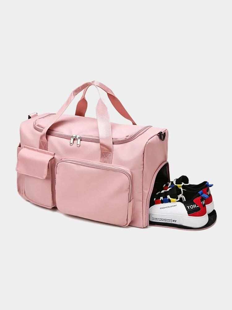 Women Pink Nylon Large Capacity Gym Bags Multifunction Shoes Compartment Travel Storage Handbag Crossbody Bag