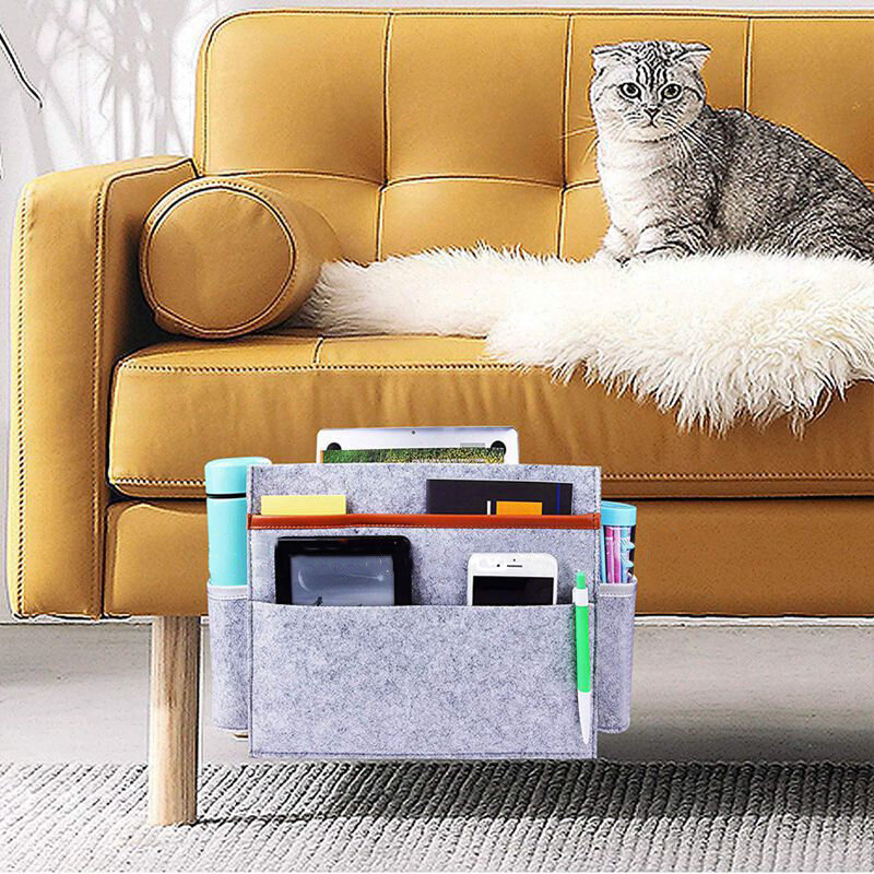 Felt Bedside Storage Bag Storage Hanging Bag Sofa Custom Fashion Digital Remote Control Book Storage Bag
