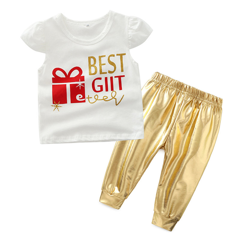 Best Gift Print Baby Short Sleeve Tops Pants Sets For 0-2Years