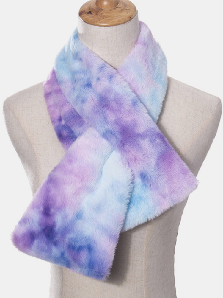 Women Plush Plus Thicken Tie-dye Warm Casual All-match Neck Protection Scarf
