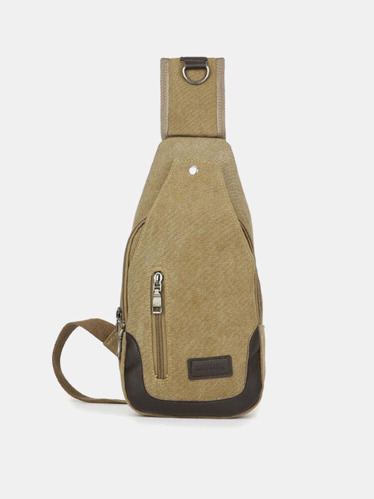 Men Canvas Leisure Multifunction Crossbody Bag Shoulder Bag Chest Bags