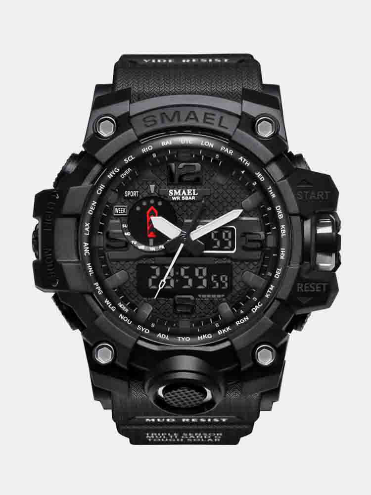 Dual Display Sport Analog Digital Watch Pure Color Band Waterproof Quartz Watch