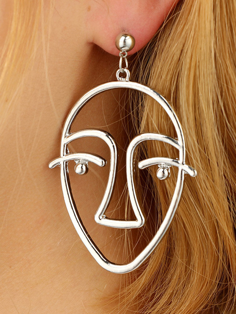 Fashion Exaggerated Abstract Human Face Earrings Gold Silver Dangle Earings for Women