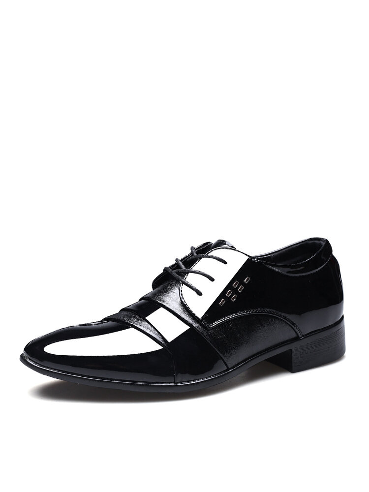 Men Lace-up Glossy Patent Leather Pointed Toe Business Shoes