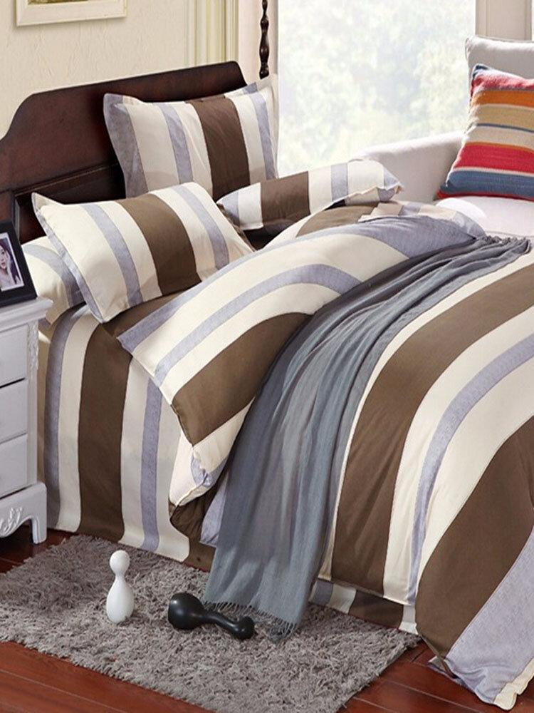 3 या 4pcs धारी कपास मिश्रण पेंट मुद्रण बिस्तर सेट एकल जुड़वां रानी आकार