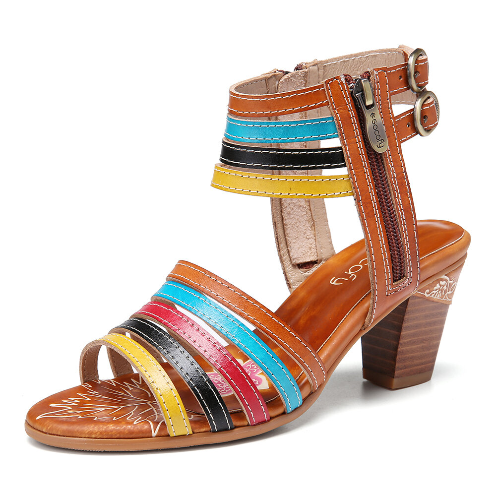 SOCOFY Leather Color Block Ankle Strap Block Heel Open Toe Comfy Heeled Sandals