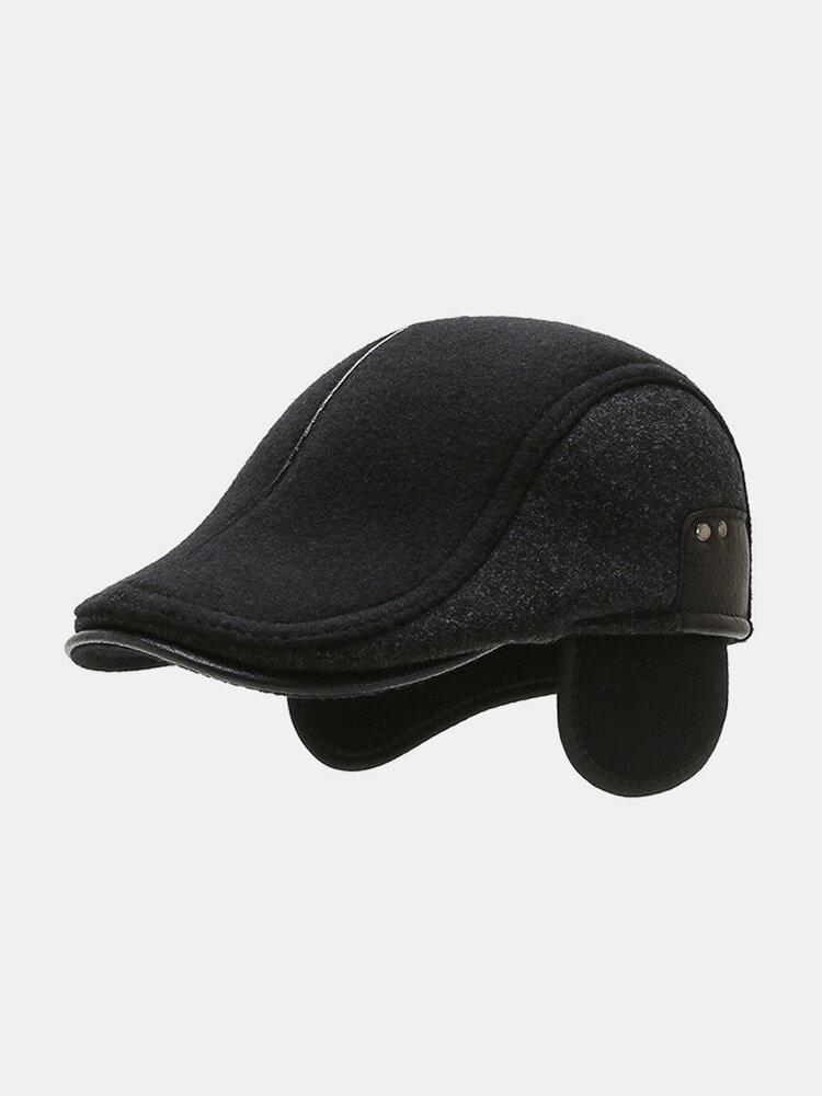 Men Ear Protection Keep Warm Plain Color Casual Forward Hat Beret Hat Flat Cap