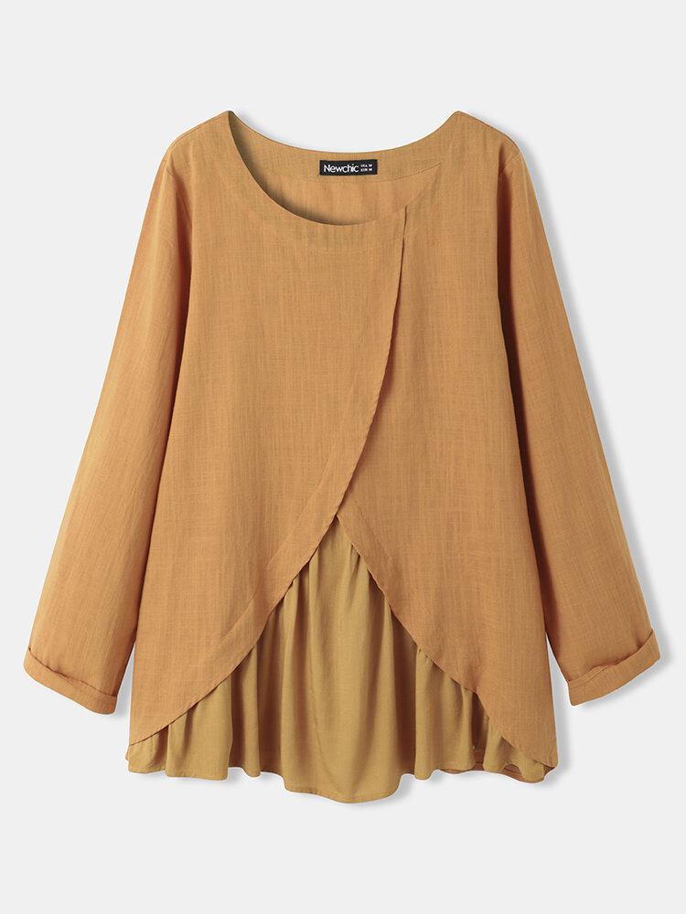 Solid Long Sleeve Patchwork O-neck Blouse for Women