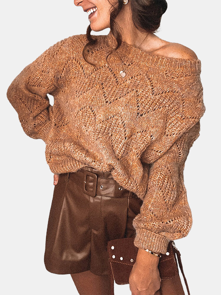 Solid Color Hollow Knit Casual Sweater for Women