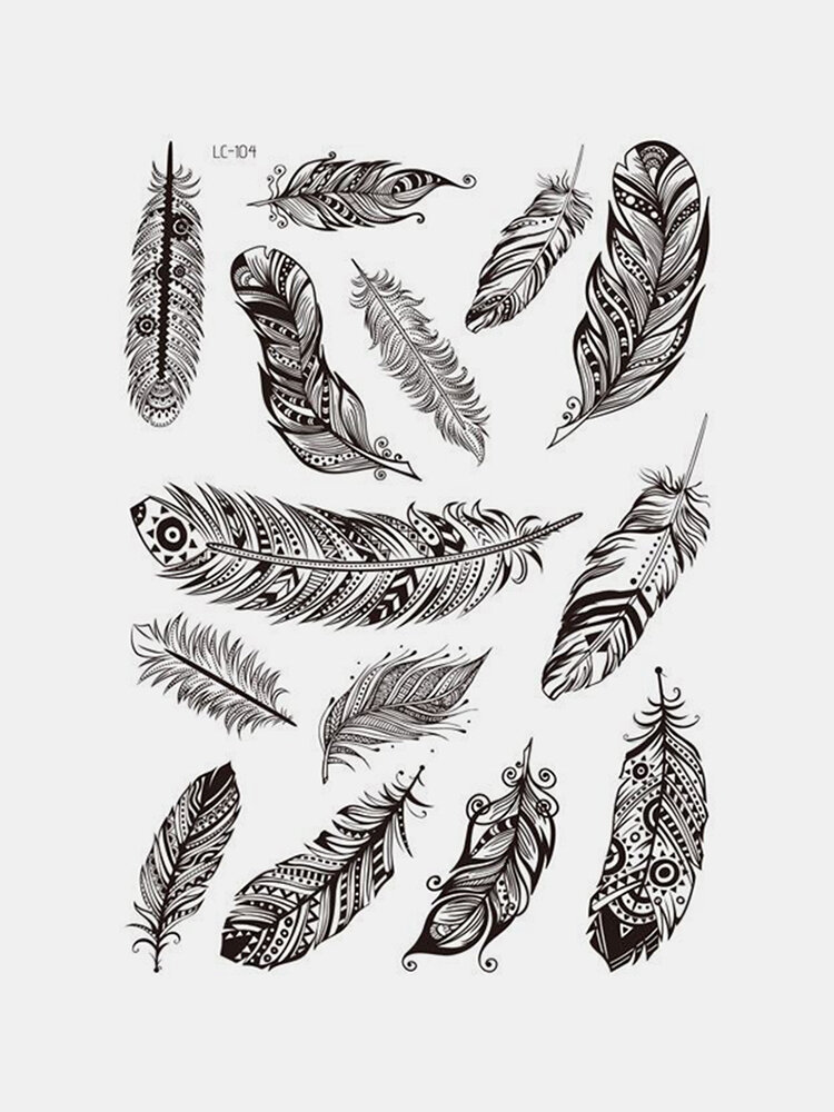 Black Feather Mandala Flower Temporary Tatuaggio Sticker Impermeabile Body Art Arm Tatuaggio Carta transfer