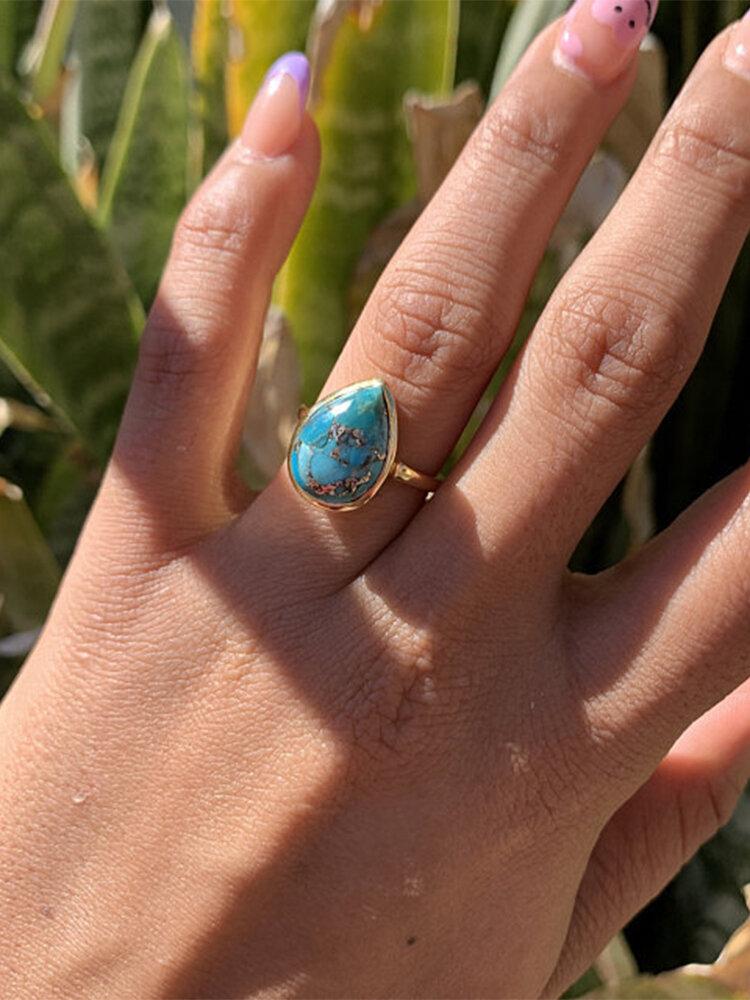 Vintage Bohemian Drop-shape Turquoise Alloy Rings