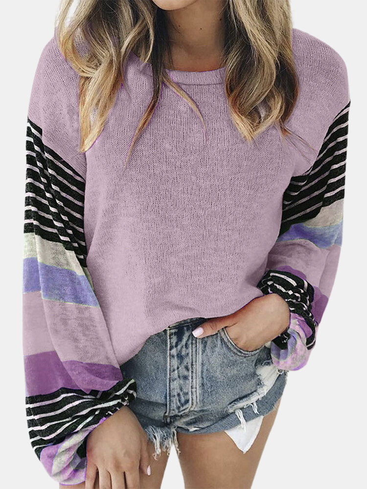 Striped Long Sleeve O-neck Patchwork T-shirt For Women
