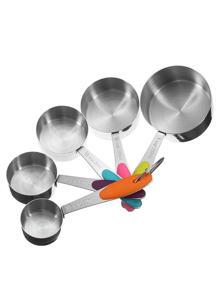 10 قطع غير القابل للصدأ الصلب قياس قياس ملاعق الخبز الطبخ سكوب كأس المطبخ