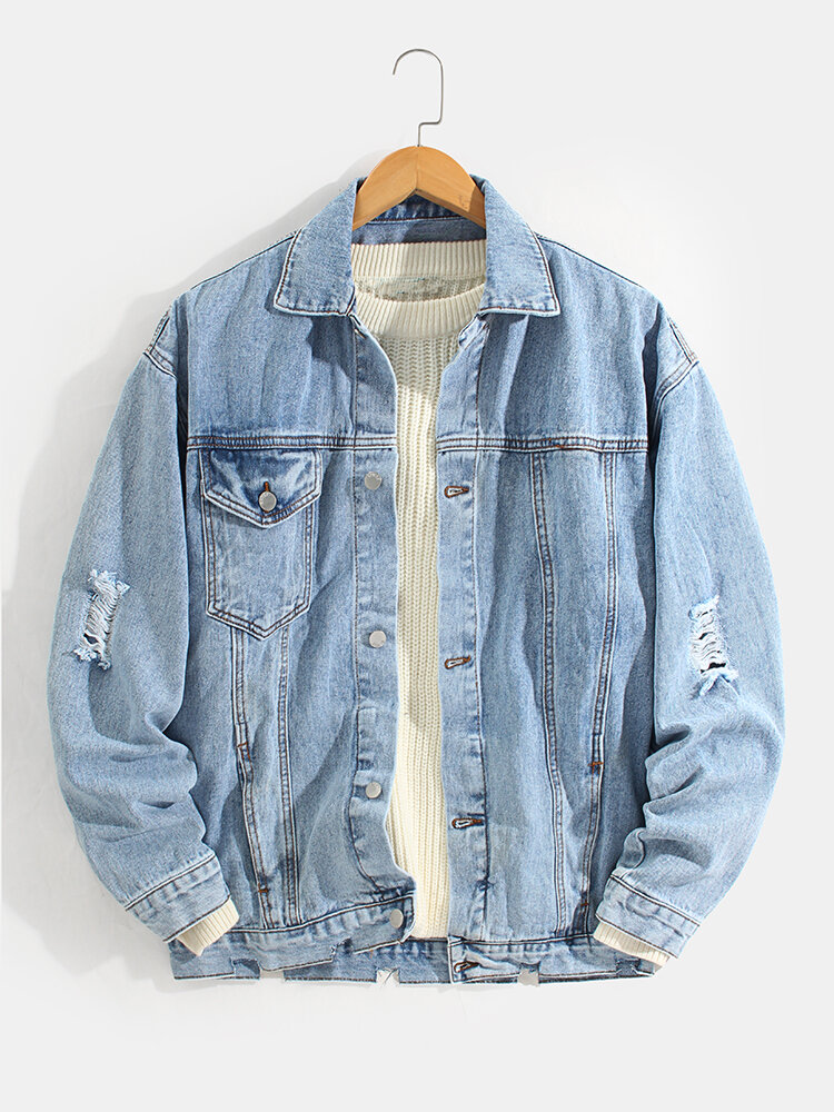Mens Ripped Button Front Lapel Cotton Outdoor Stylish Denim Jacket With Pocket