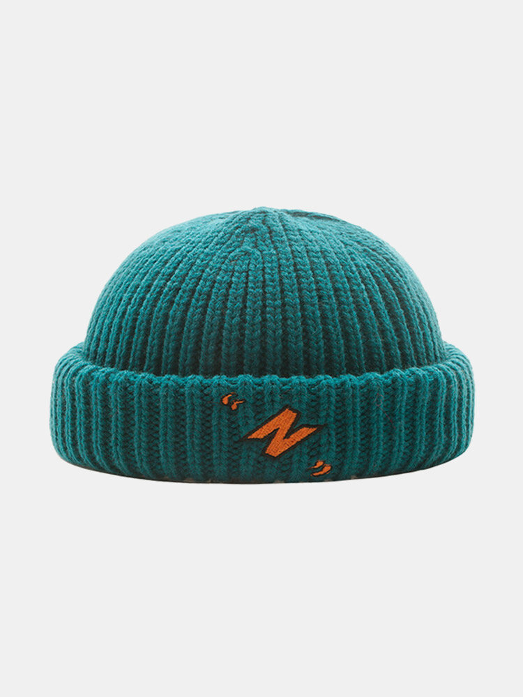 Unisex Acrylic Knitted Solid Color Letter Embroidery All-match Warmth Brimless Beanie Landlord Cap Skull Cap